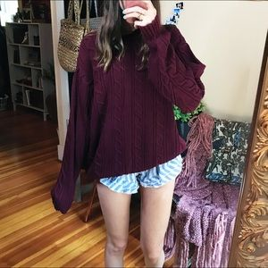 Dockers chunky cable knit maroon oversized sweater